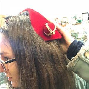 Vintage Accessories - Vintage Vibrant Red Wool hat with Hatpins